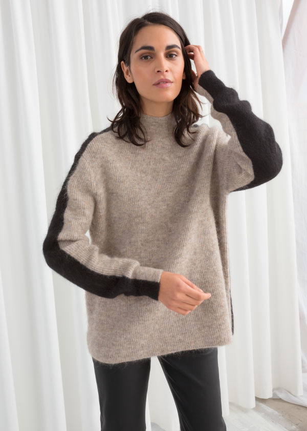 Mock Neck Colour Block Sweater