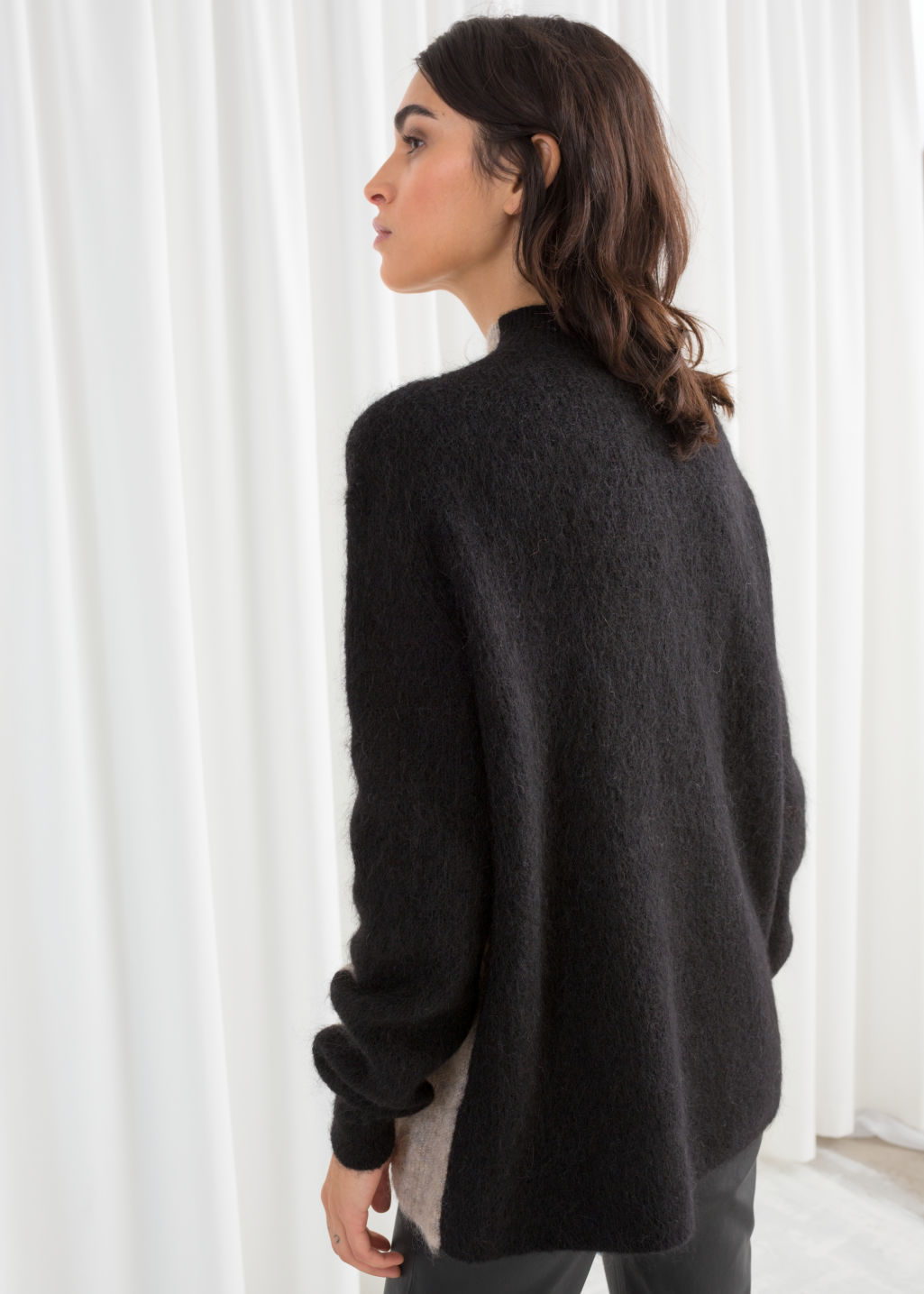 Model back image of Stories mock neck colour block sweater in beige