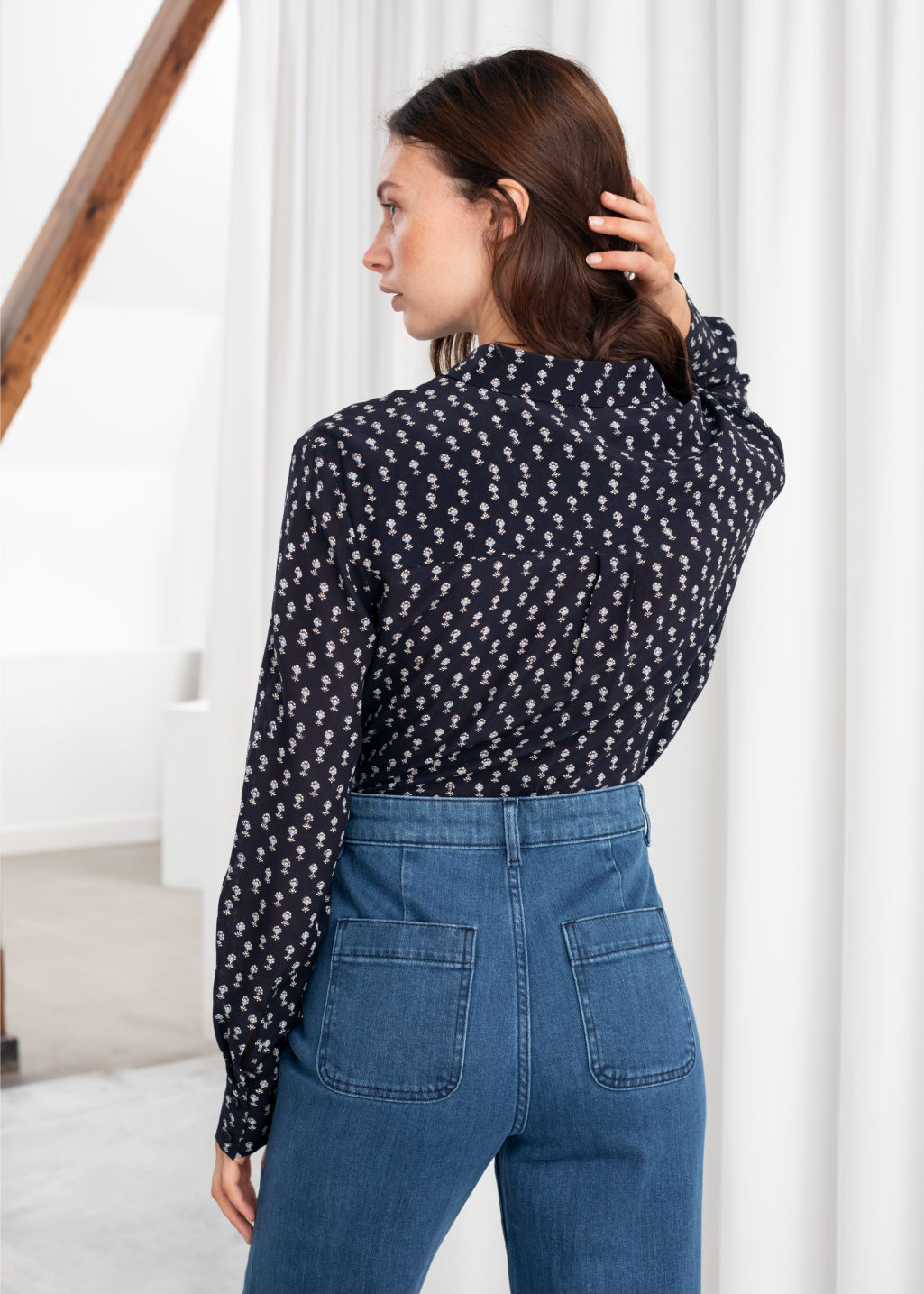 Model back image of Stories leopard print silk shirt in blue