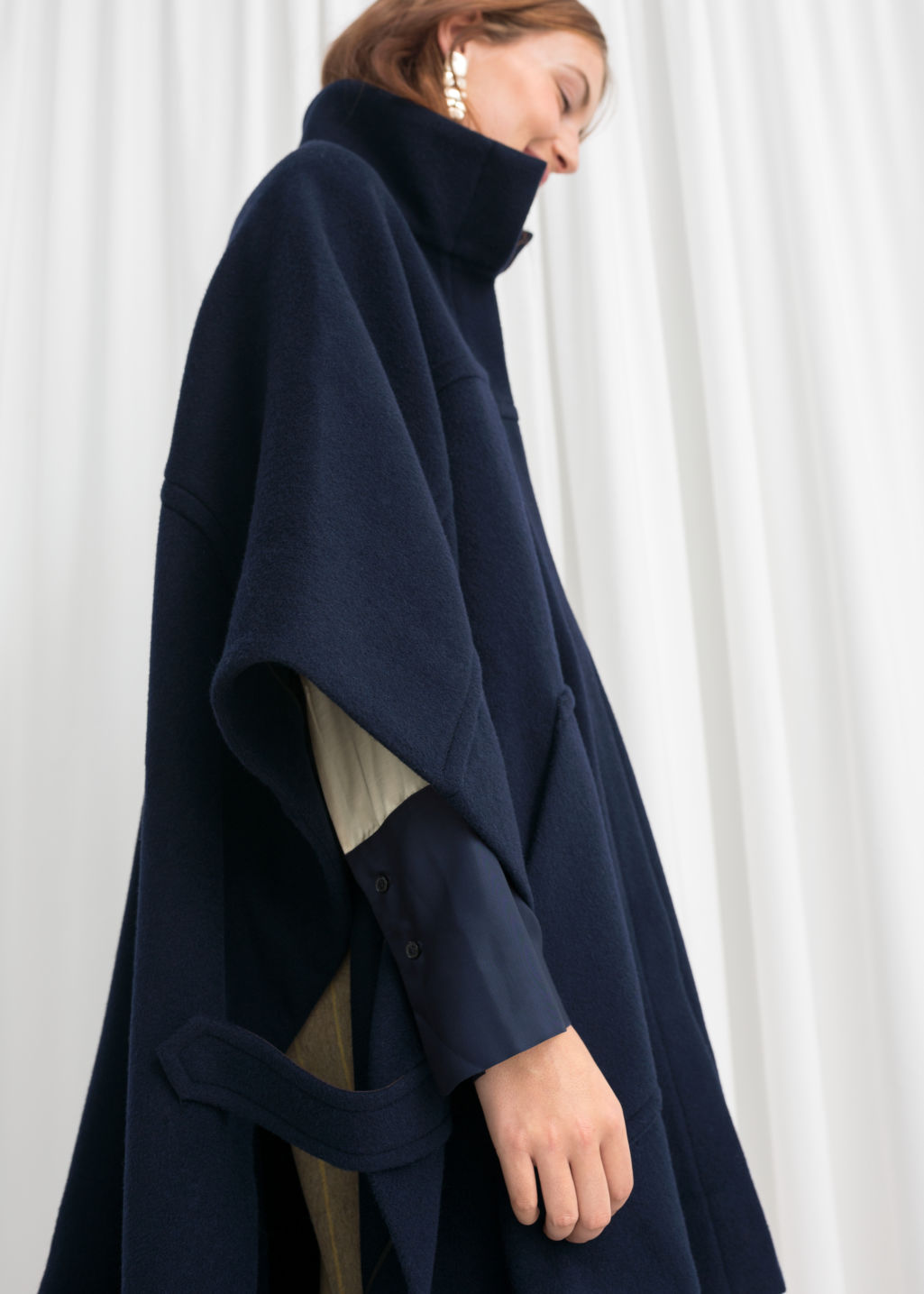 Model front image of Stories wool blend workwear cape in blue