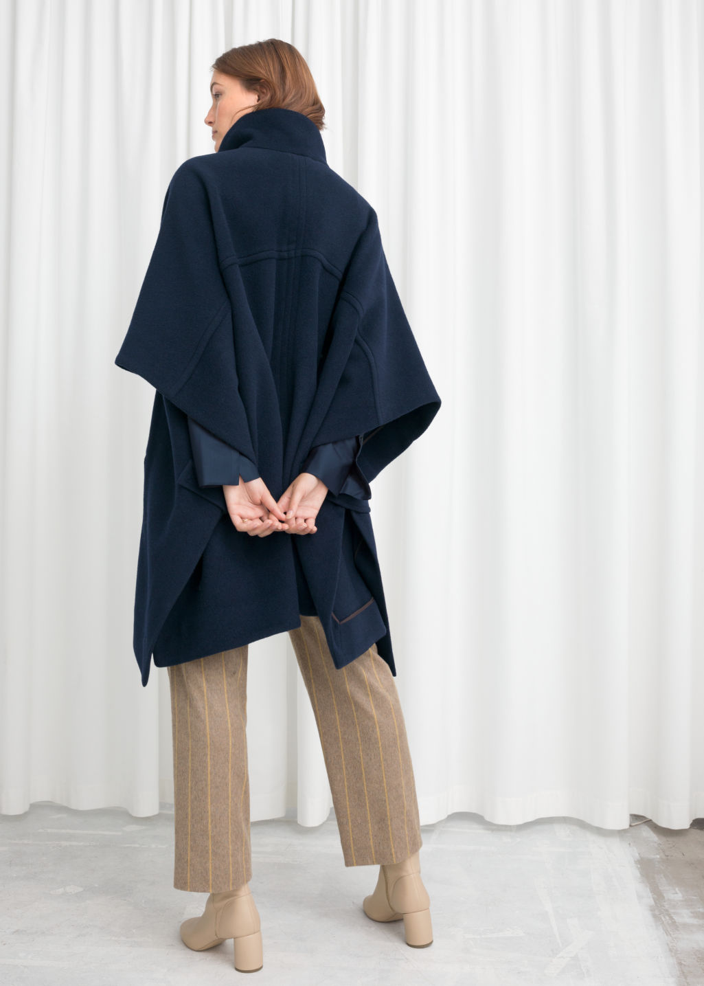 Model back image of Stories wool blend workwear cape in blue