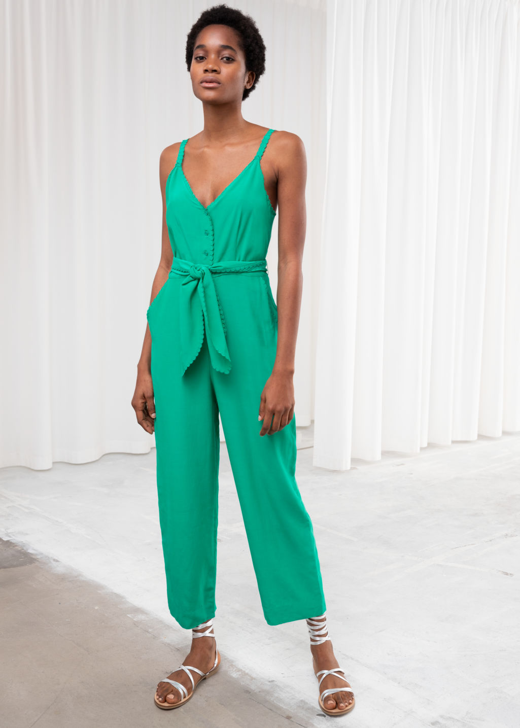c9c7a268535c Belted Scallop Edge Jumpsuit - Green - Jumpsuits   Playsuits ...