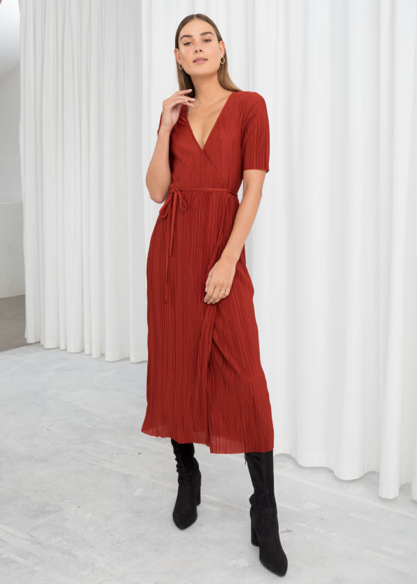 Plissé Pleated Wrap Dress