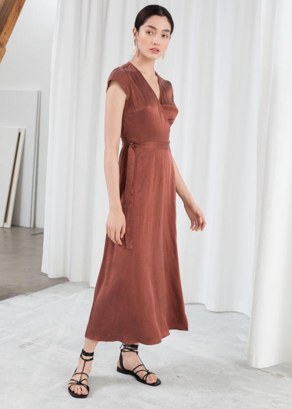 Satin Midi Wrap Dress