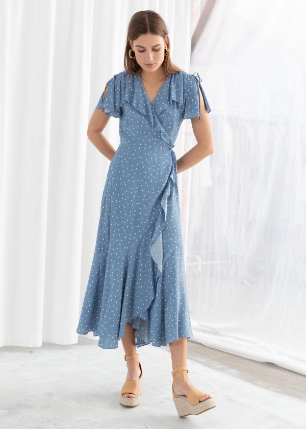 26313940bdd17 Polka Dot Handkerchief Wrap Midi Dress ...