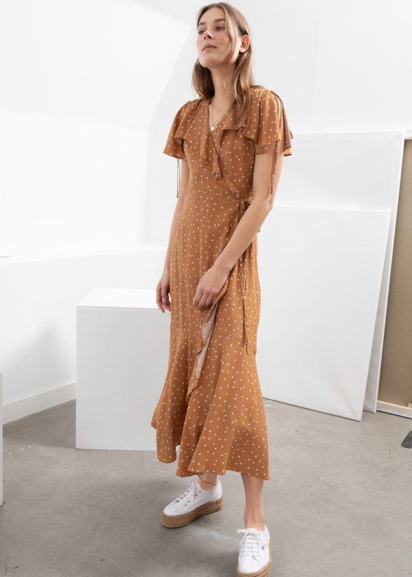 b0bf0fba742 Polka Dot Handkerchief Wrap Midi Dress ...