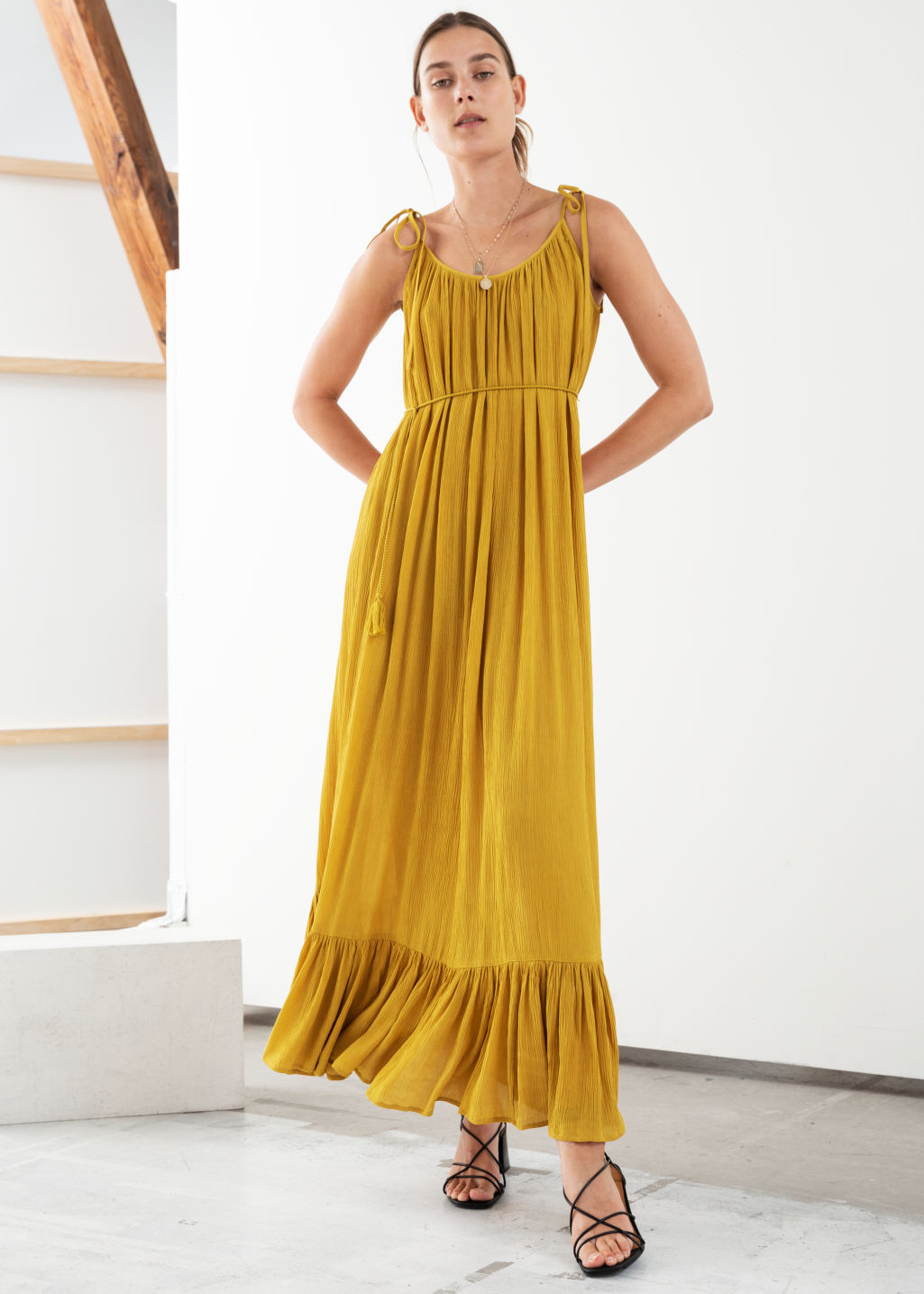 Model front image of Stories gathered maxi dress in yellow