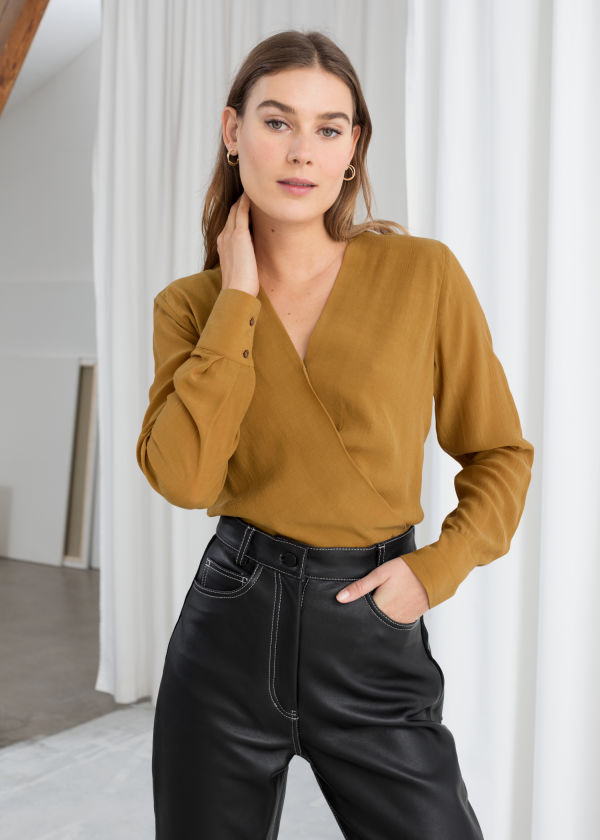 Draped Plunging Blouse