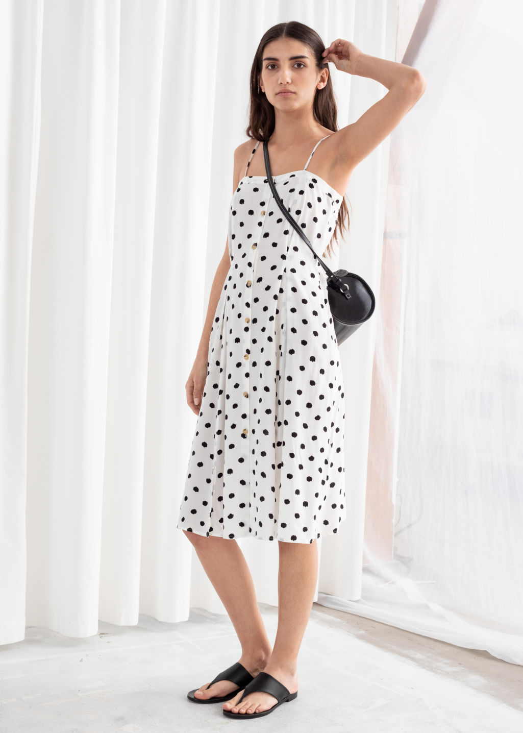 Model front image of Stories square neck button up midi dress in white