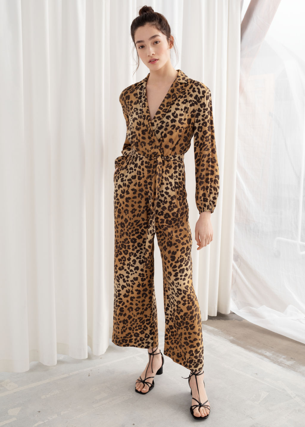 factory price undefeated x finest selection Long Sleeve Leopard Print Jumpsuit - Leopard - Jumpsuits & Playsuits - &  Other Stories