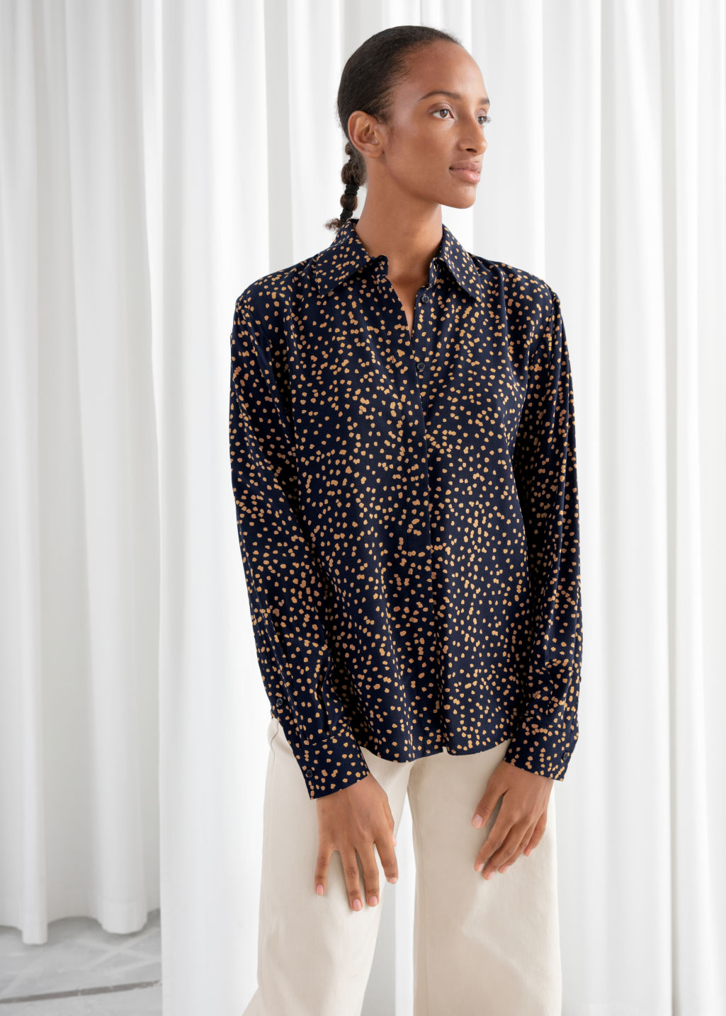 Model front image of Stories printed button up shirt in black