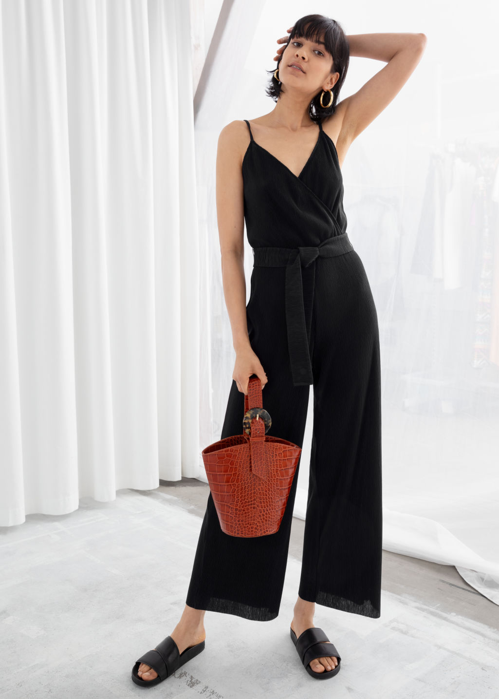official shop big clearance sale fine quality Belted Plissé Pleated Jumpsuit - Black - Jumpsuits & Playsuits - & Other  Stories