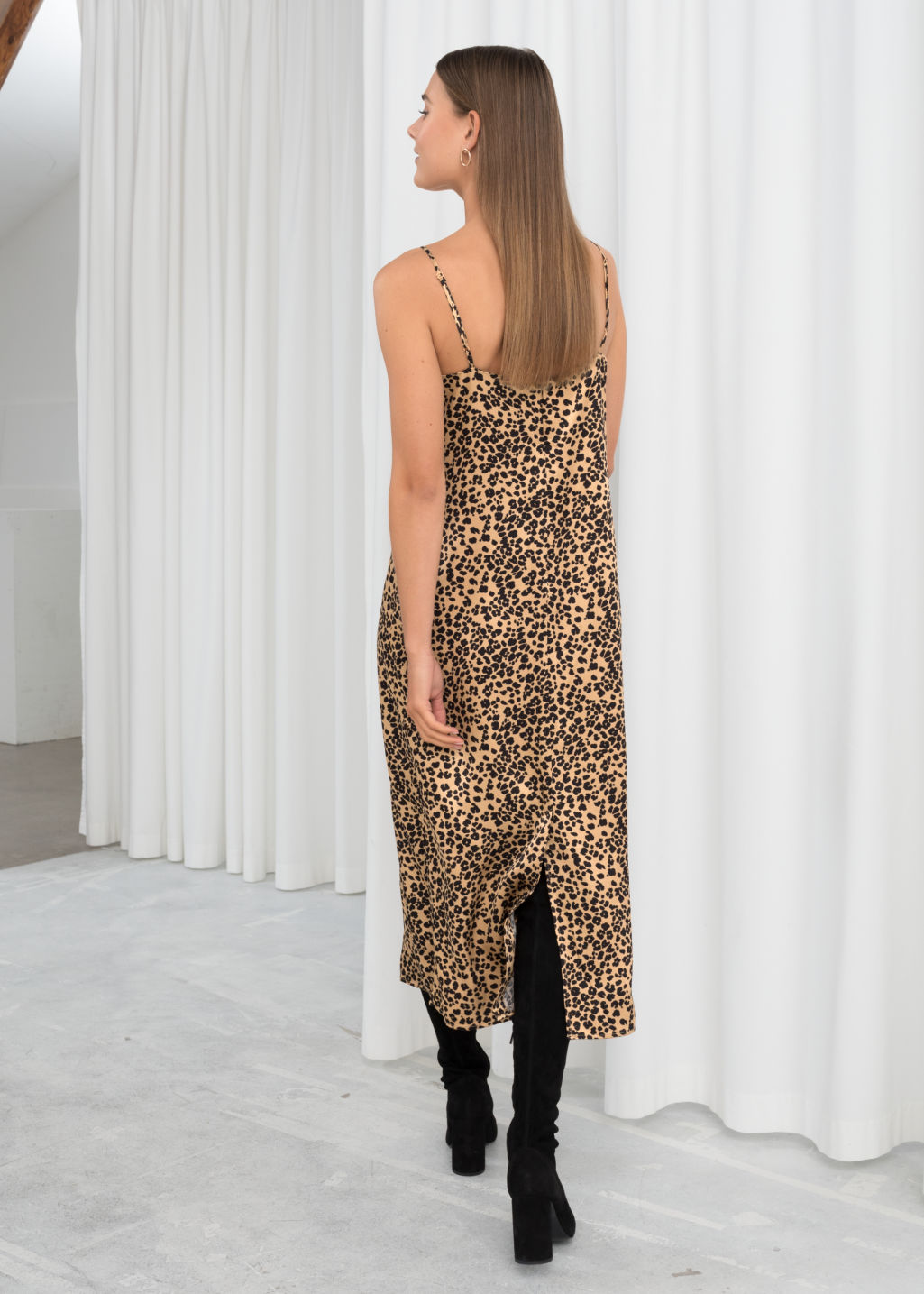 Model back image of Stories satin leopard slip dress in beige