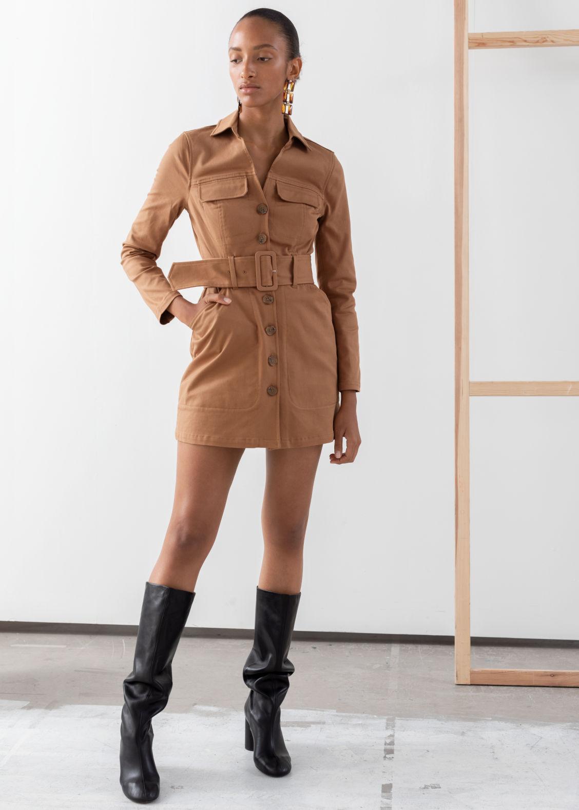 e01da5268c Belted Workwear Mini Dress - Camel - Mini dresses -   Other Stories