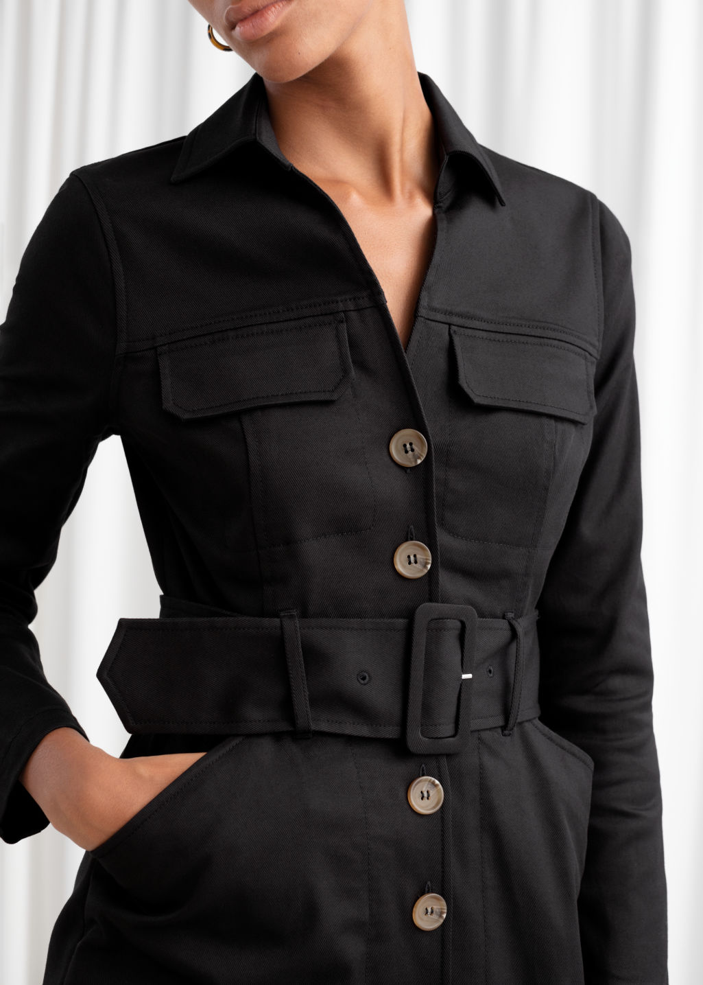Model back image of Stories belted workwear mini dress in black