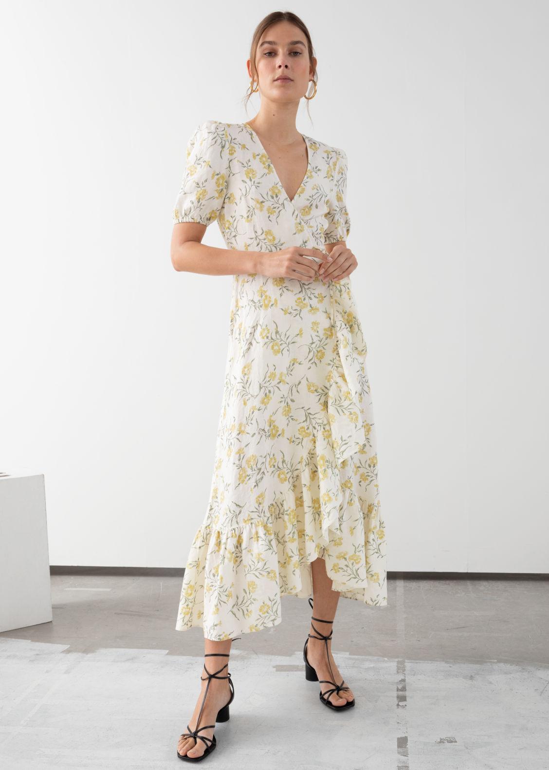 8eed3d8b7557a Ruffled Linen Wrap Midi Dress - Floral Print - Midi dresses -   Other ...