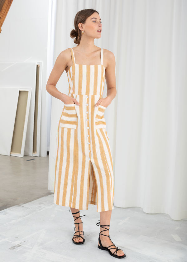 Striped Cotton Linen Midi Dress