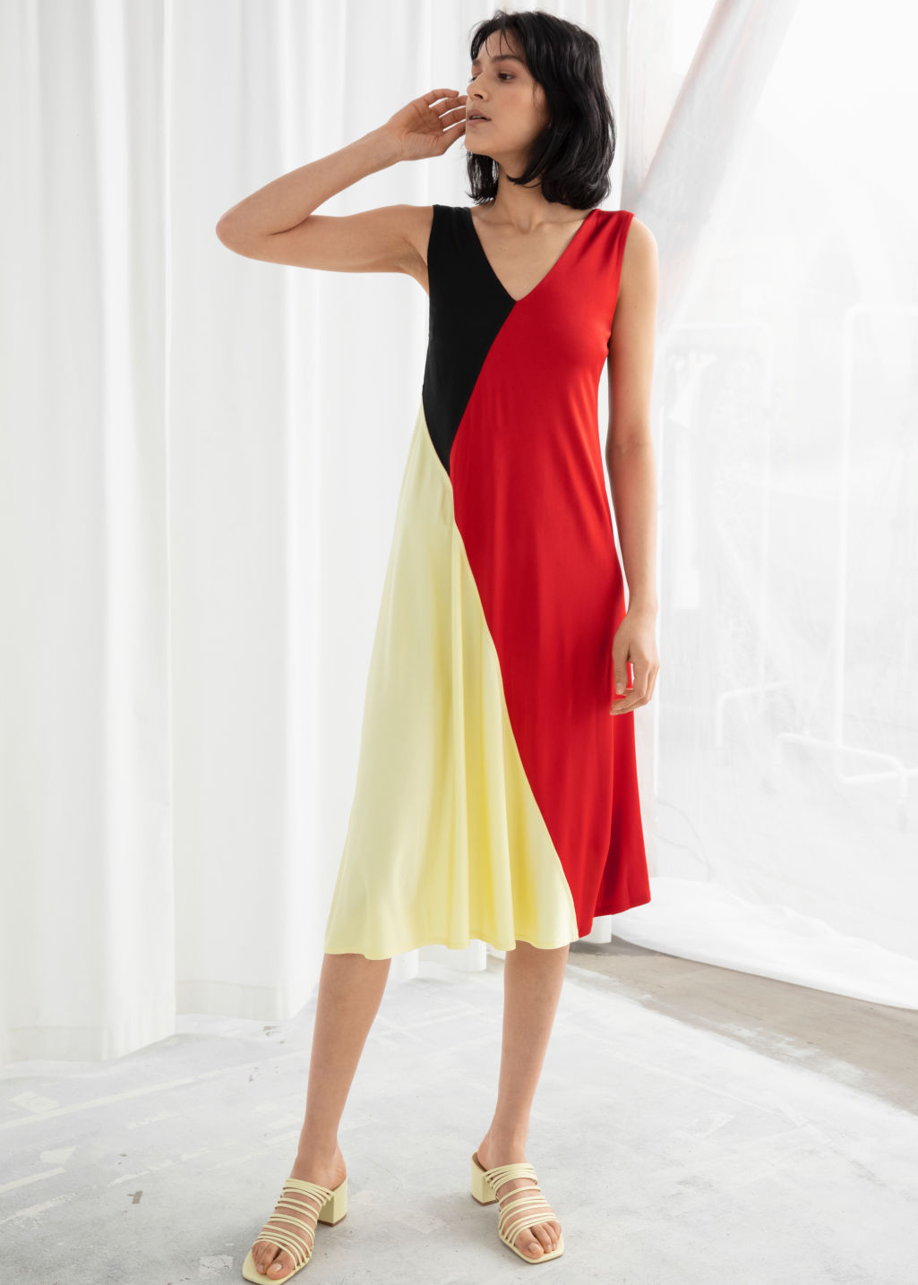 Model front image of Stories colour block midi dress in red