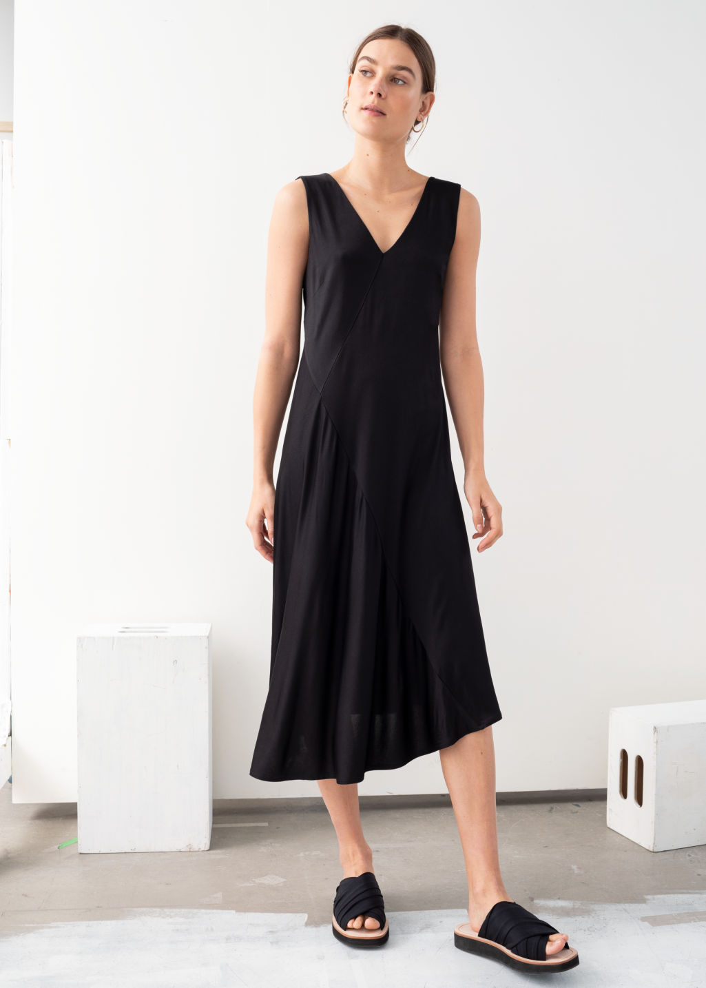 Model front image of Stories colour block midi dress in black