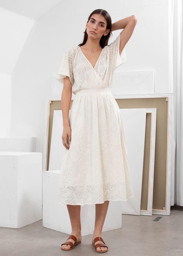 3333b78cd486 Cotton Blend Coffee Bean Print Midi Dress ...