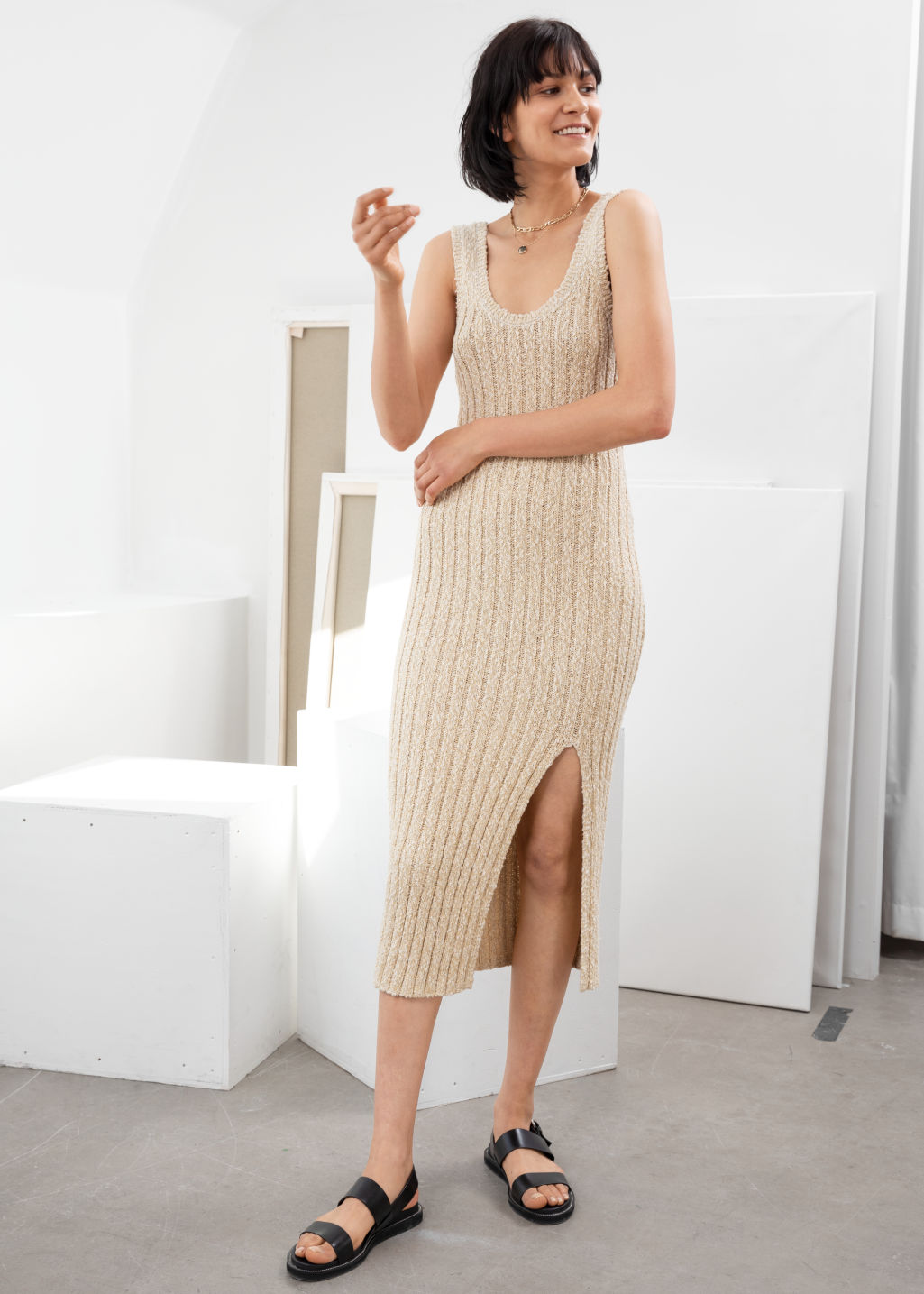 Model front image of Stories glitter cotton blend knit midi dress in white