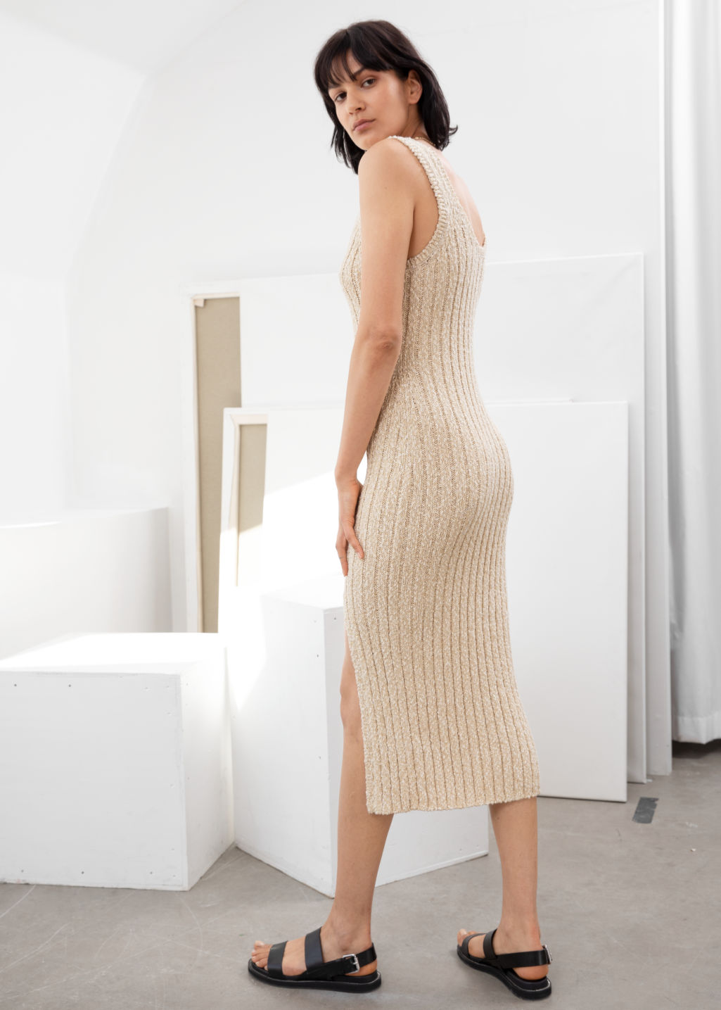 Model back image of Stories glitter cotton blend knit midi dress in white