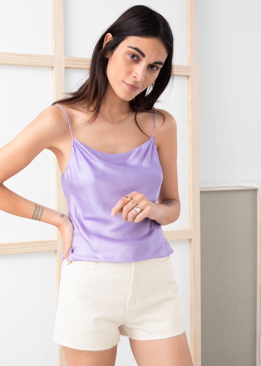 Model front image of Stories satin cowl neck tank top in purple