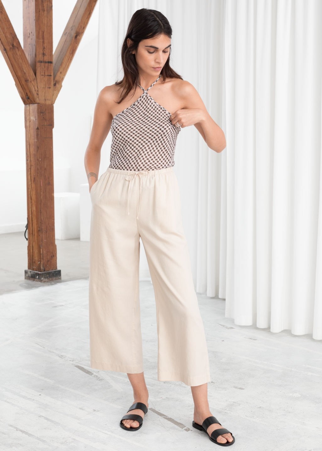 Model front image of Stories twill lyocell drawstring culottes in beige