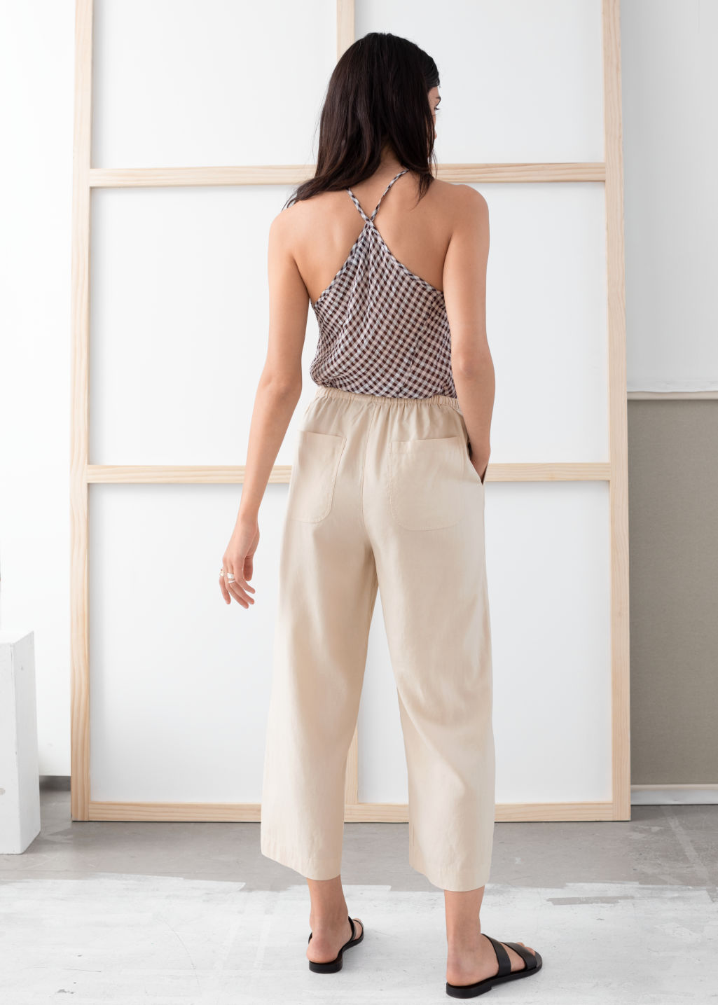 Model back image of Stories twill lyocell drawstring culottes in beige