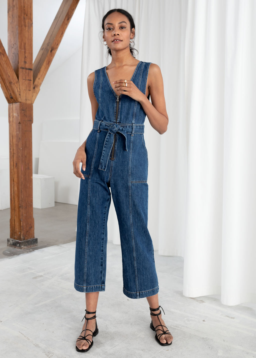aaca46afbe7e Belted Denim Jumpsuit - Blue - Jumpsuits   Playsuits -   Other Stories