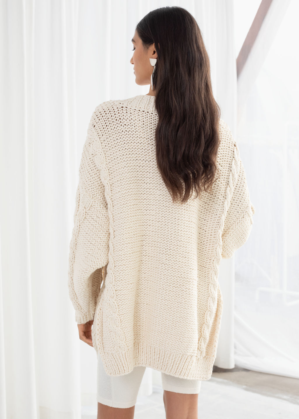 Model back image of Stories organic cotton cable knit sweater in white