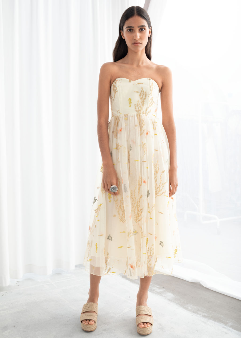 Model front image of Stories embroidered recycled polyester tulle dress in beige