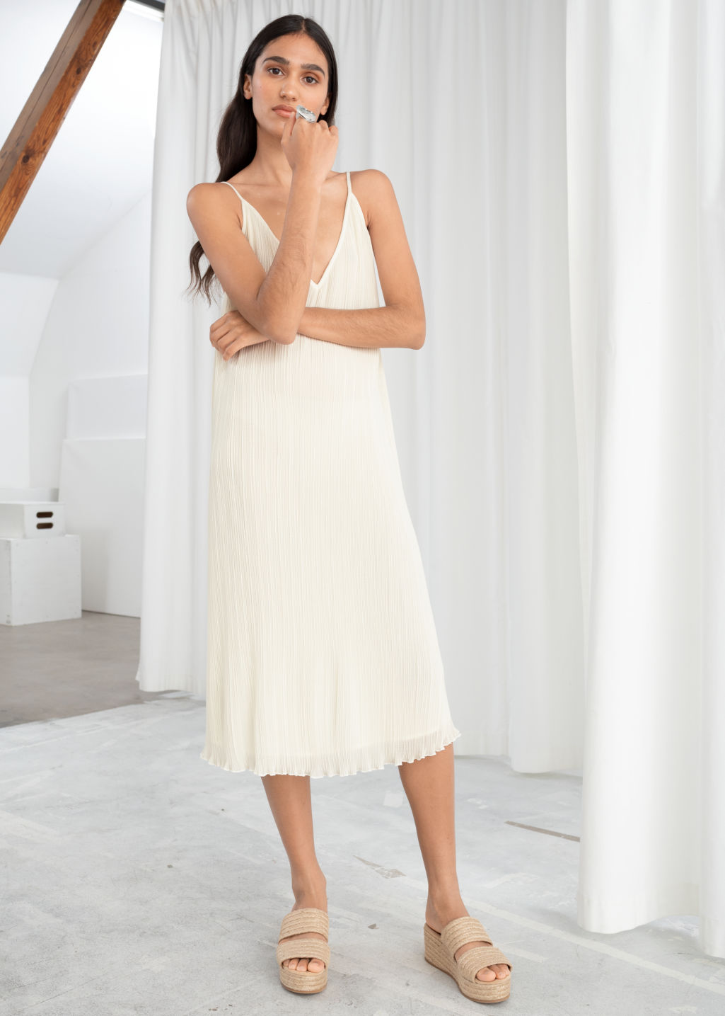 Model front image of Stories pleated recycled polyester blend midi dress in white