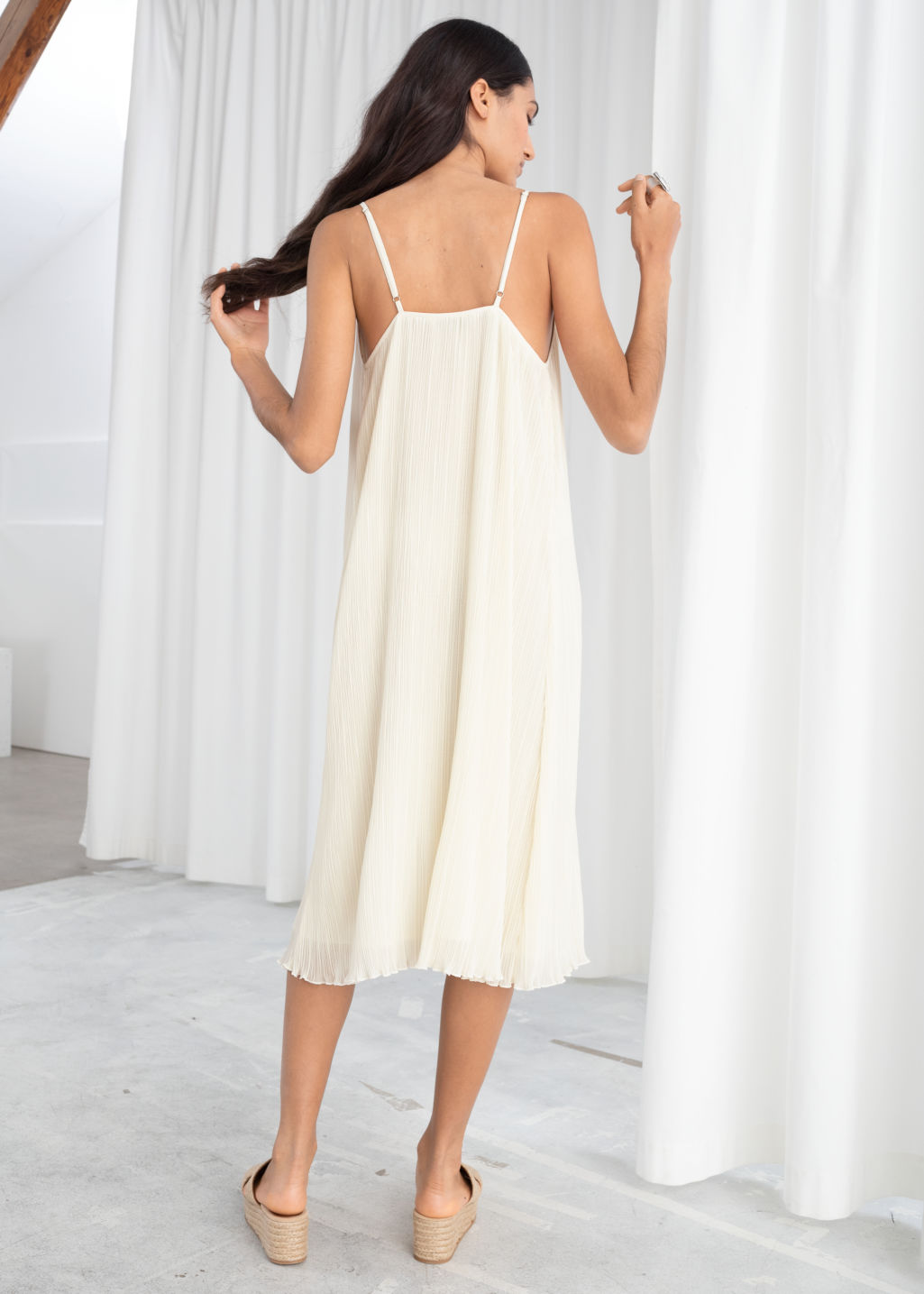 Model back image of Stories pleated recycled polyester blend midi dress in white