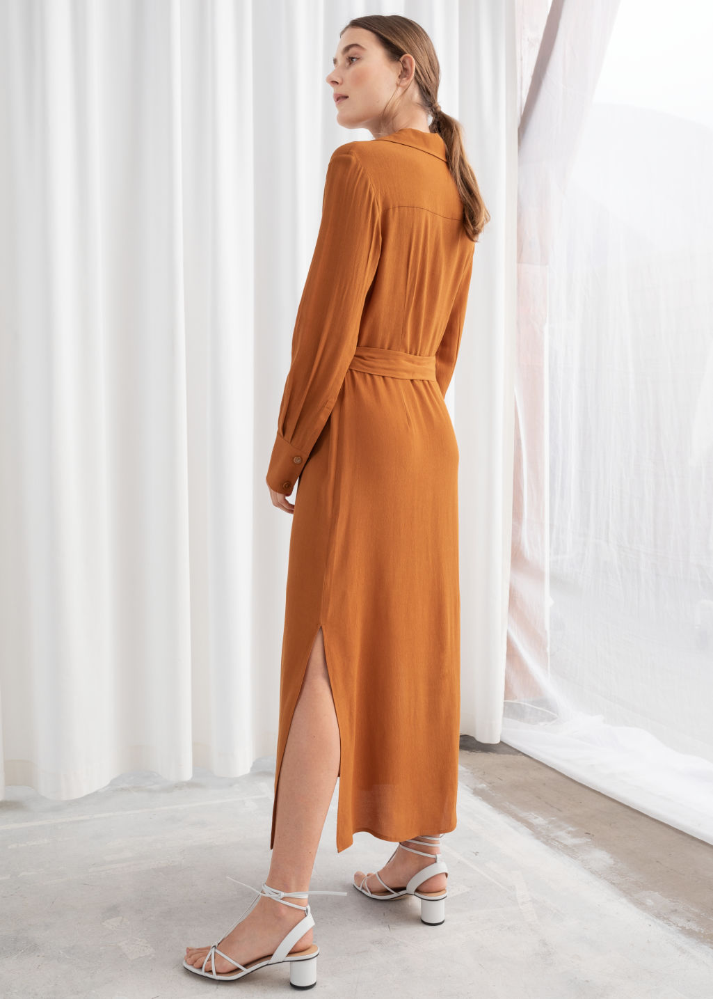 Model back image of Stories belted workwear midi dress in orange