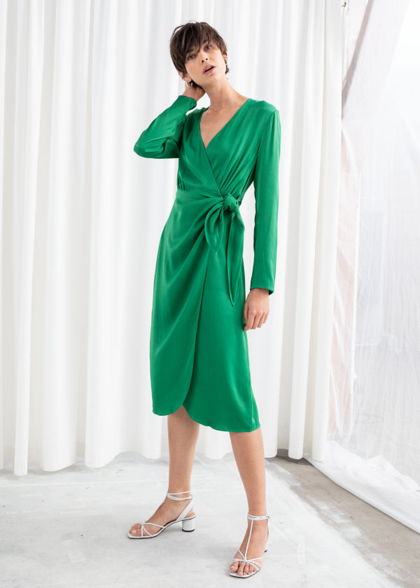 Side Tie Satin Midi Dress