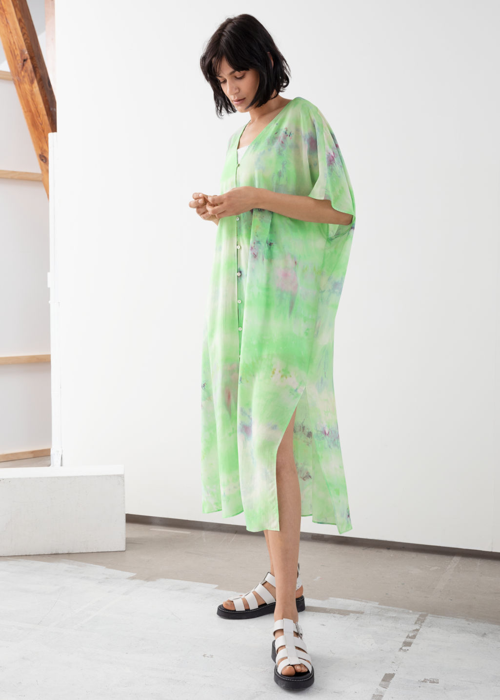 Model front image of Stories lyocell blend tie dye kaftan dress in green