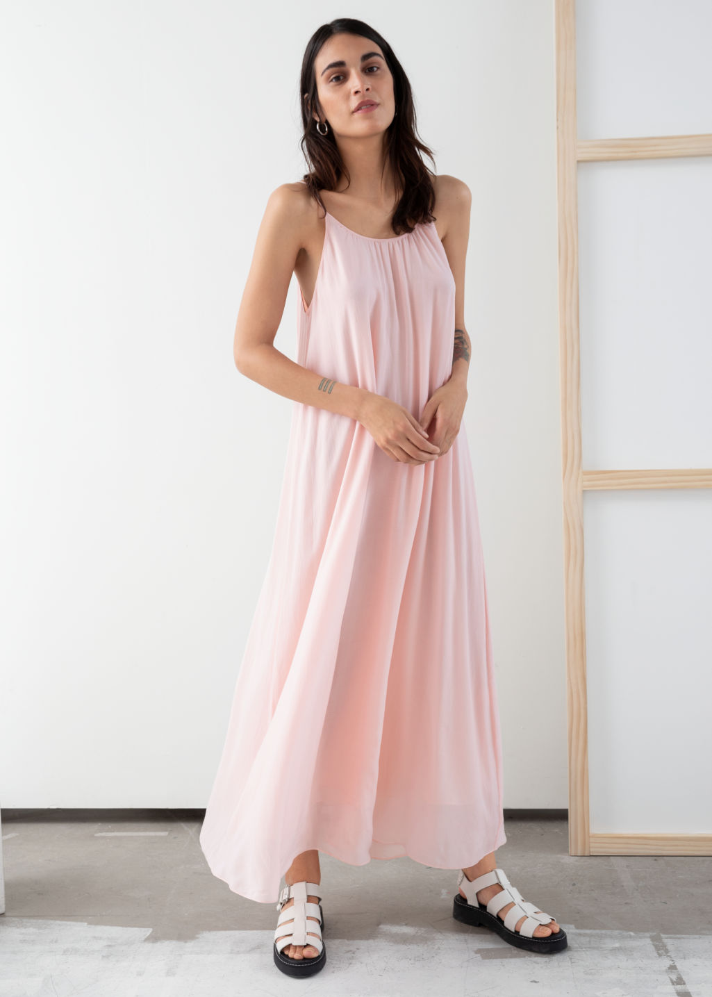 Model front image of Stories gathered a-line maxi dress in pink