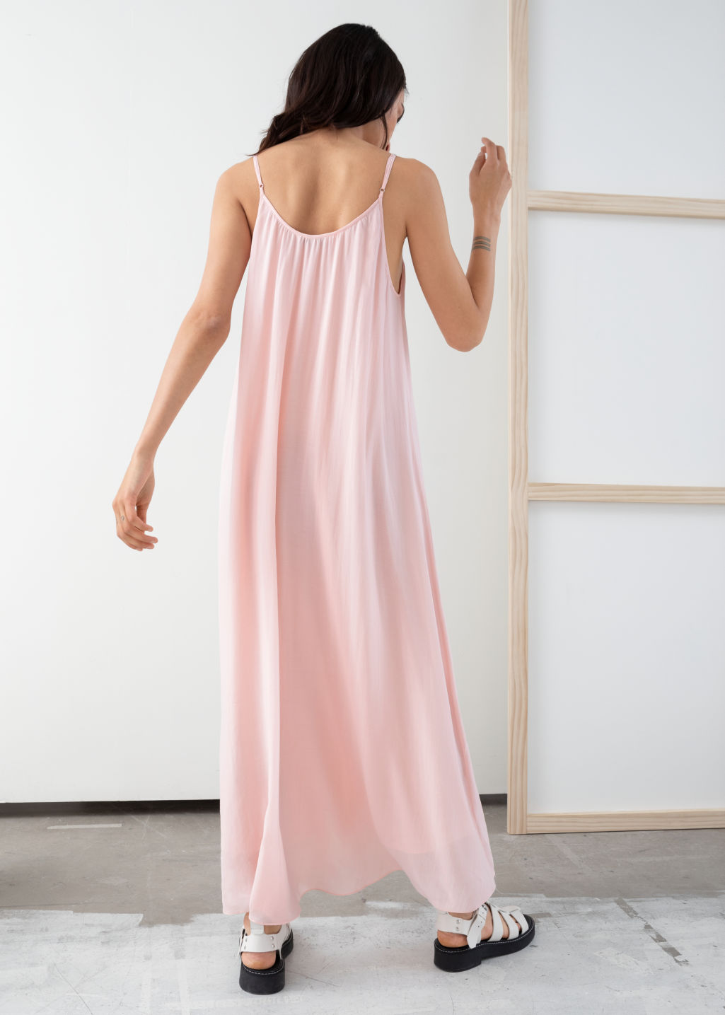 Model back image of Stories gathered a-line maxi dress in pink