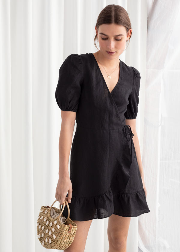 Puff Sleeve Linen Wrap Mini Dress ...