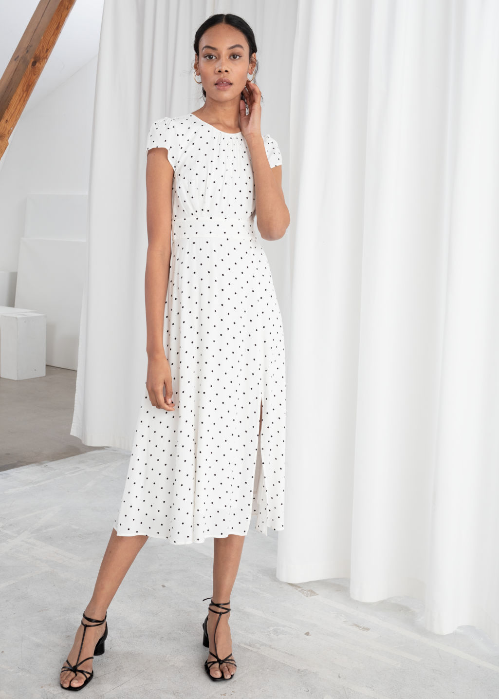 846245250d92e Polka Dot Midi Dress - White - Midi dresses -   Other Stories
