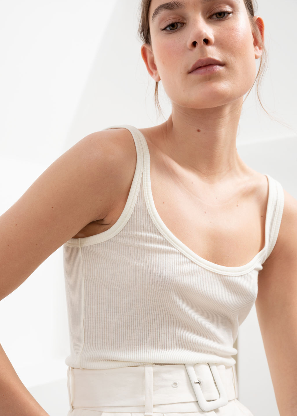 Model front image of Stories ribbed lyocell tank top in white