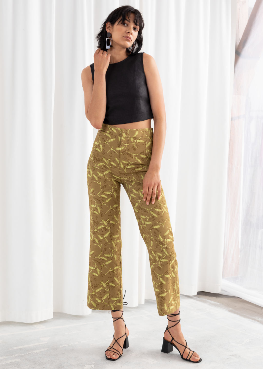 Model front image of Stories high rise kick flare trousers in beige