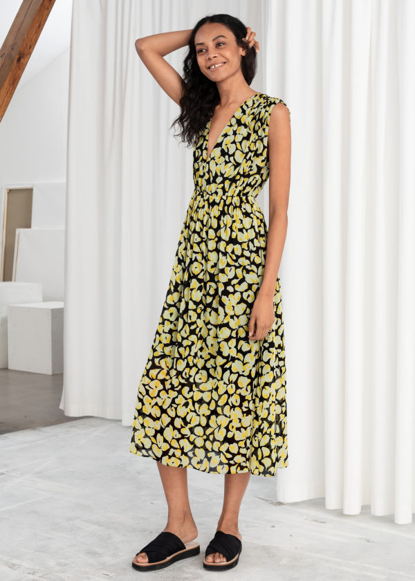 Gathered Floral Midi Dress