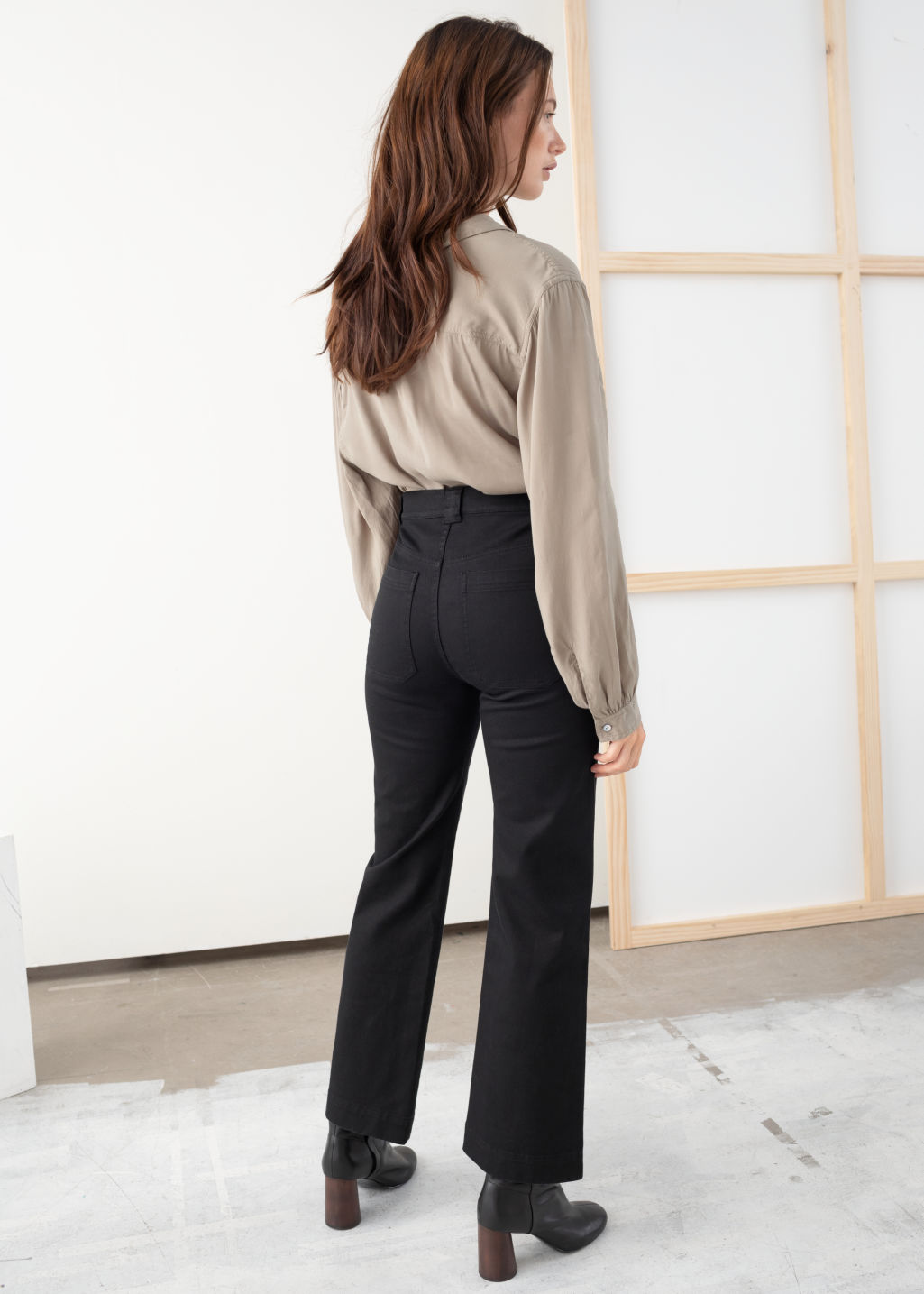Model back image of Stories cotton twill blend trousers in black
