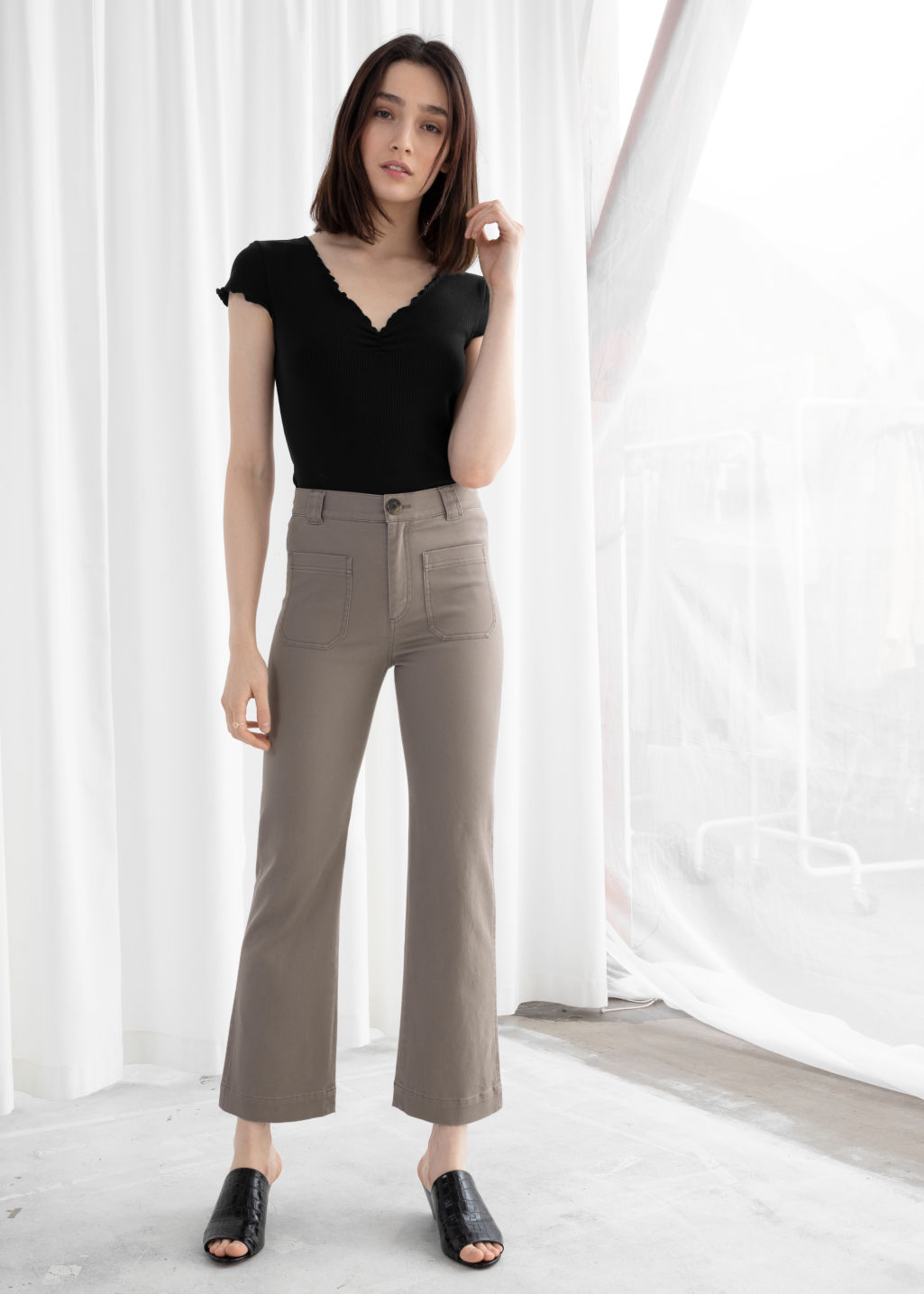 Model front image of Stories cotton twill blend trousers in brown