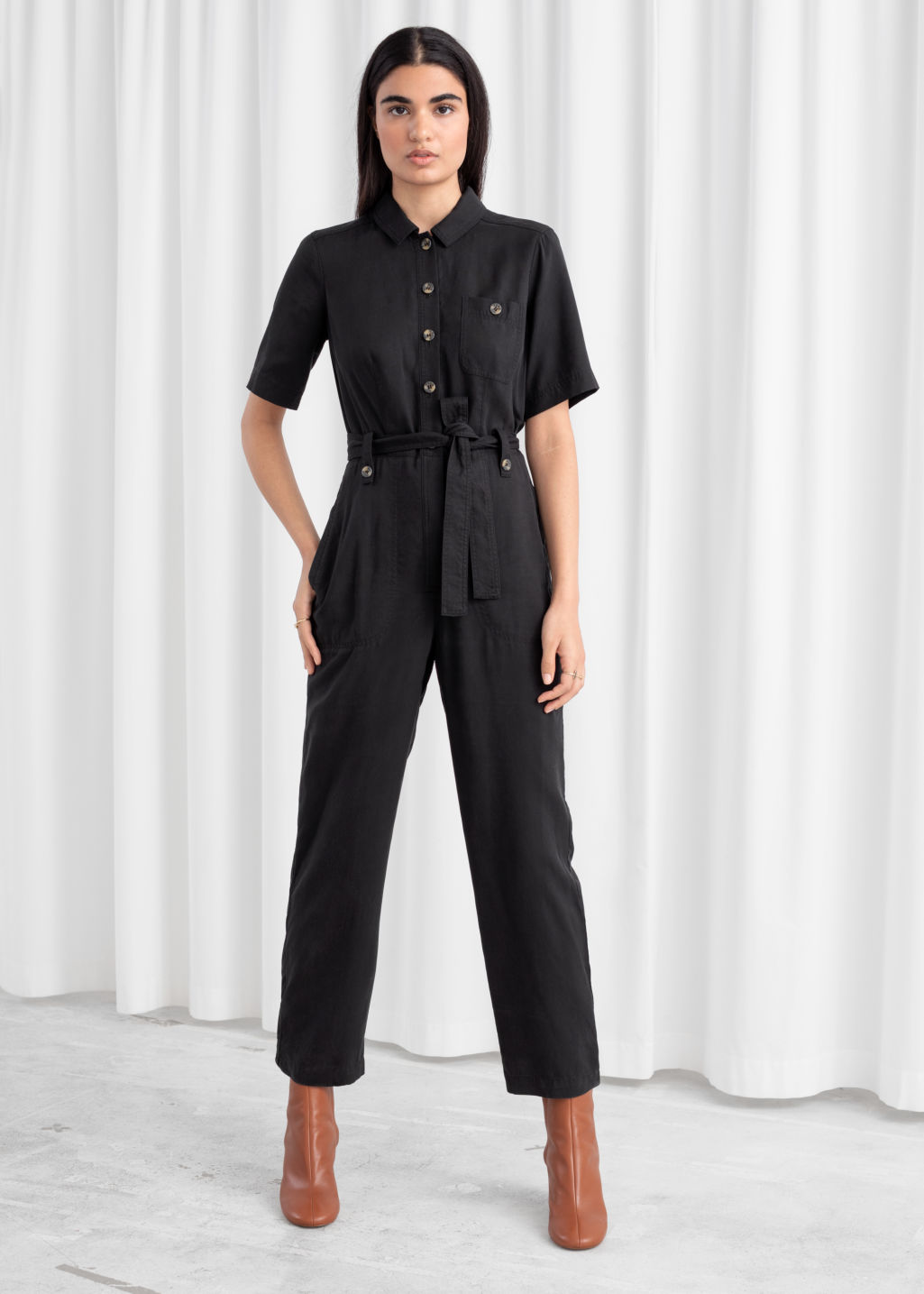 1f06b1a31c9 Belted Lyocell Jumpsuit - Black - Jumpsuits   Playsuits -   Other ...