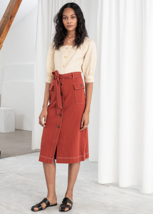 Belted A-Line Workwear Midi Skirt
