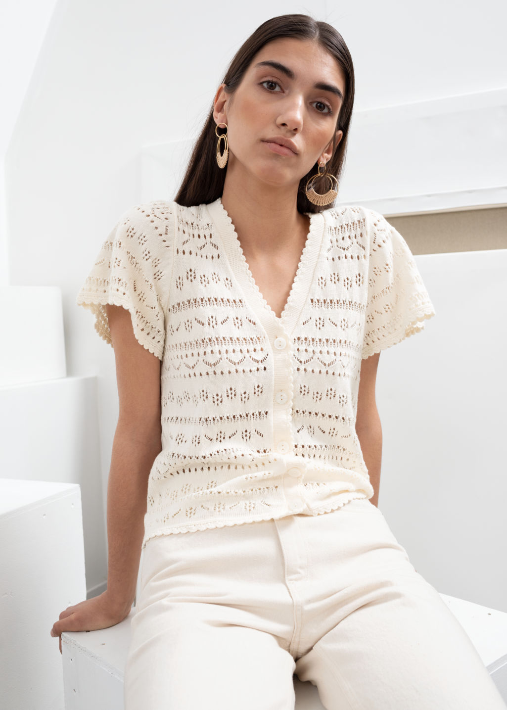 Model front image of Stories cotton crochet short sleeve cardigan in white