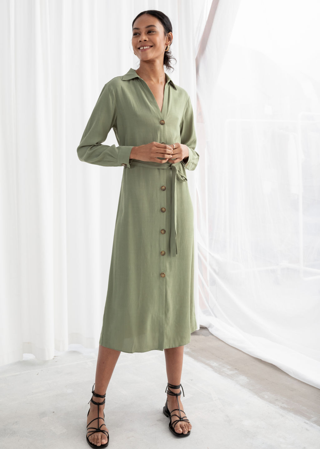 d2030e96100d Belted Button Up Midi Dress - Pistachio - Midi dresses -   Other Stories